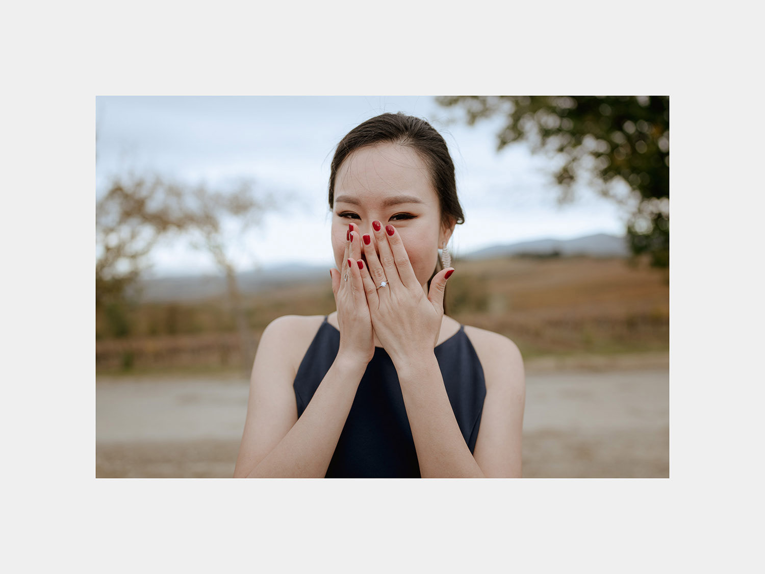winter wedding proposal tuscany chianti genuine excited bride reaction