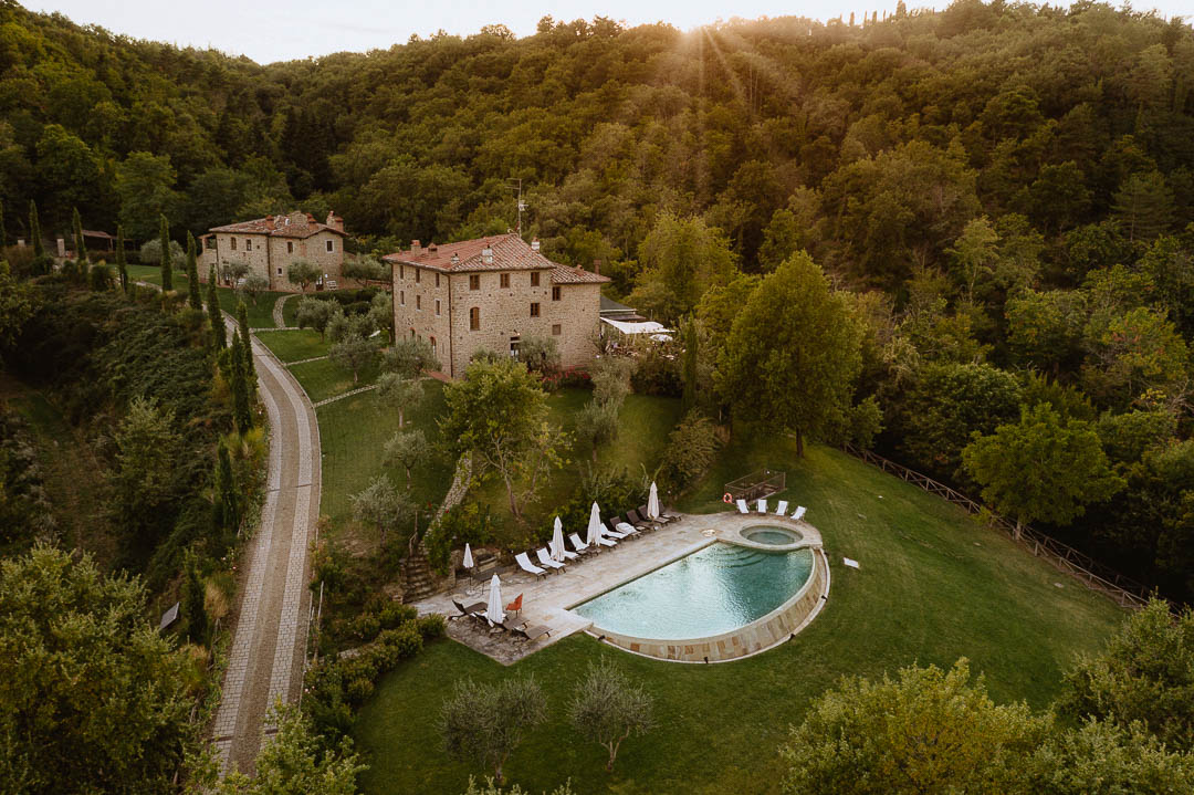 aerial drone photography intimate tuscan wedding venue