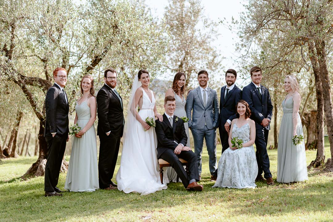 bridal party outdoor portrait olive trees
