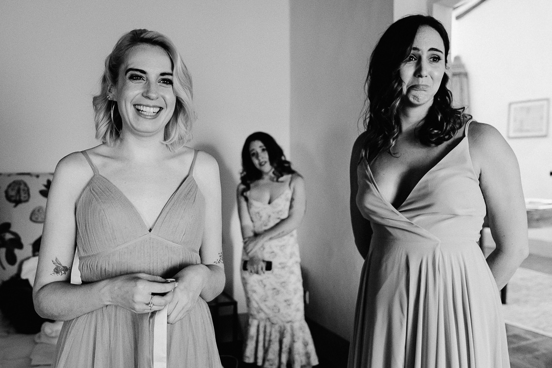 bridal party while dressing up