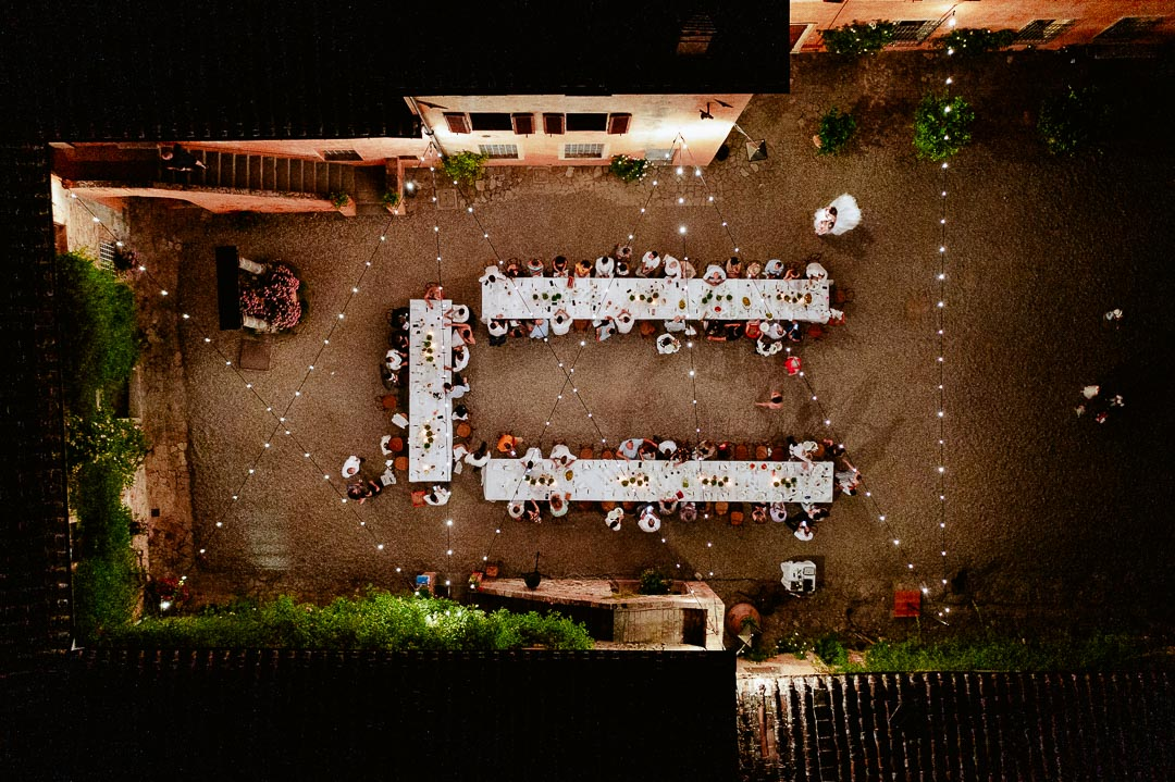 drone view of dinner setup at night