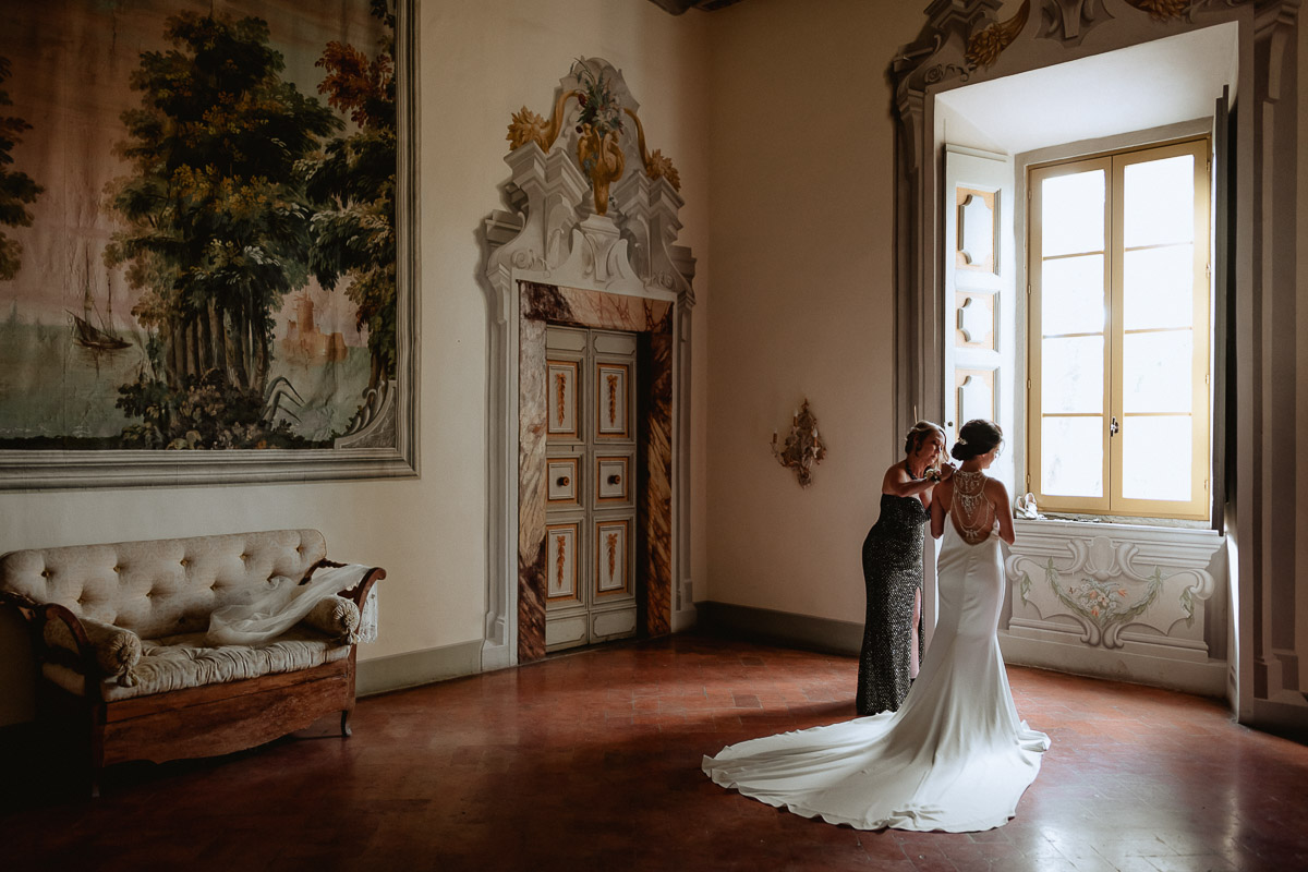 getting ready in a castle room