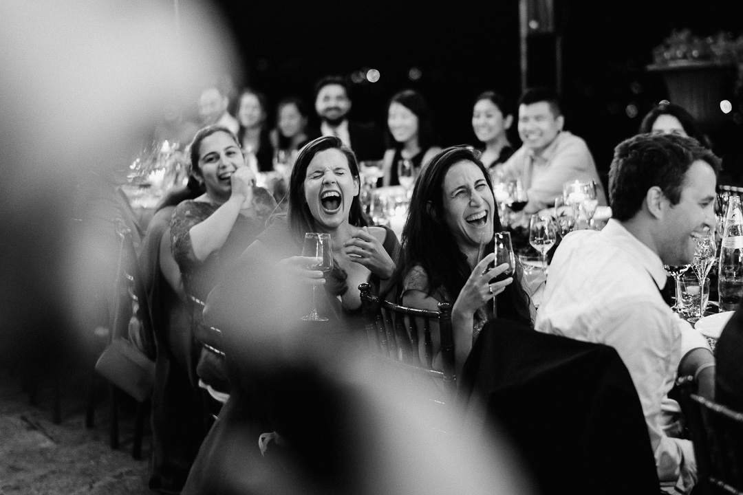 guests having best time at wedding